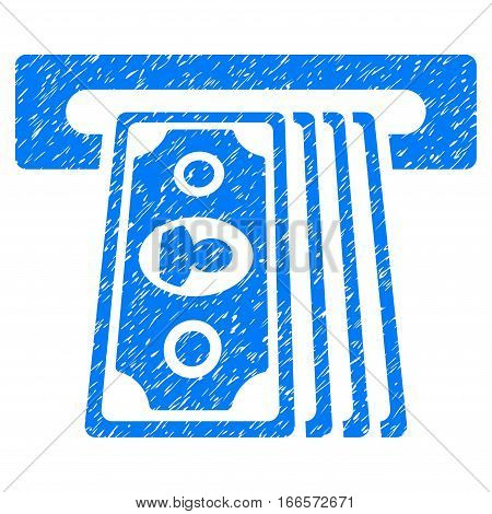 Cashpoint Terminal grainy textured icon for overlay watermark stamps. Flat symbol with unclean texture. Dotted vector blue ink rubber seal stamp with grunge design on a white background.