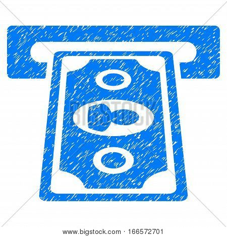 Cashpoint Terminal grainy textured icon for overlay watermark stamps. Flat symbol with dust texture. Dotted vector blue ink rubber seal stamp with grunge design on a white background.