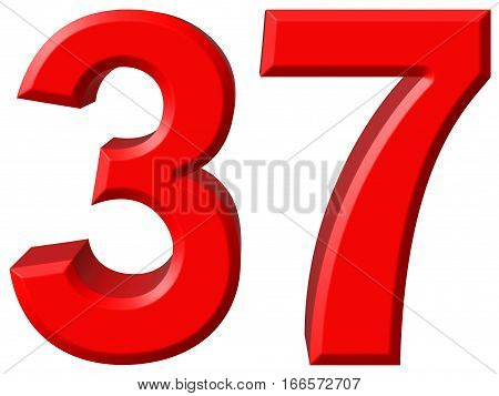 Numeral 37, Thirty Seven, Isolated On White Background, 3D Render