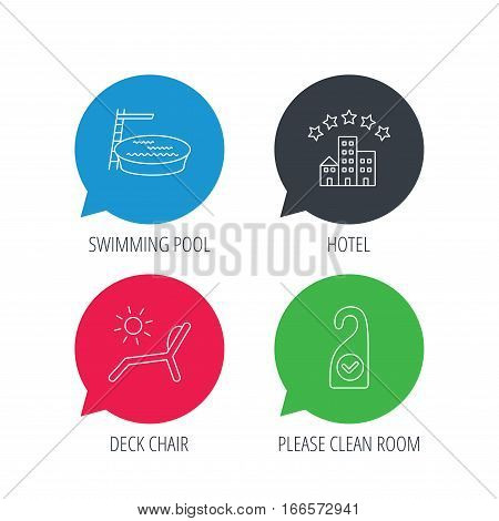 Colored speech bubbles. Hotel, swimming pool and beach deck chair icons. Clean room linear sign. Flat web buttons with linear icons. Vector