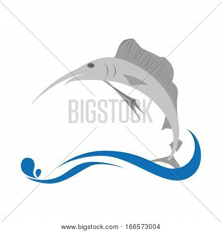 marlin fish emblem icon vector illustration design