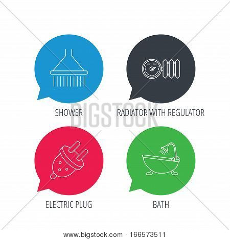 Colored speech bubbles. Shower, bath and electric plug icons. Radiator with regulator linear sign. Flat web buttons with linear icons. Vector