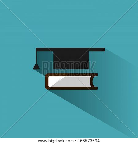 Mortarboard with book icon on blue background with shade
