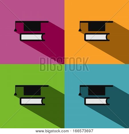 Mortarboard with book icon on colored backgrounds with shade