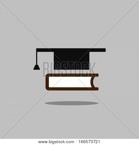 Mortarboard with book icon on grey background with shade