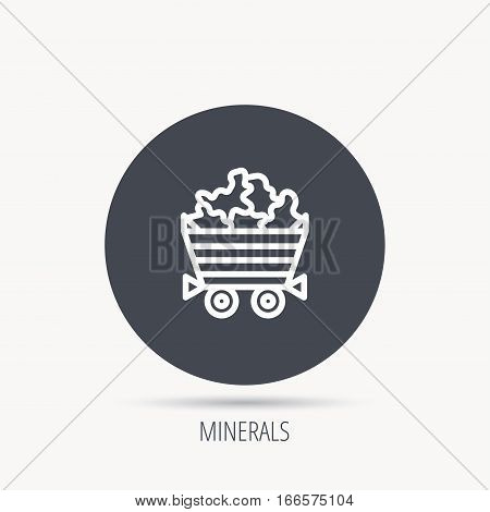 Minerals icon. Wheelbarrow with jewel gemstones sign. Round web button with flat icon. Vector