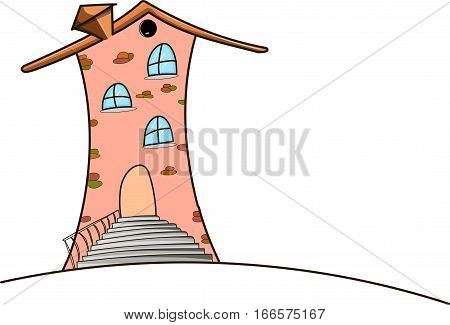 The fairytale tall pink house. Gray staircase.