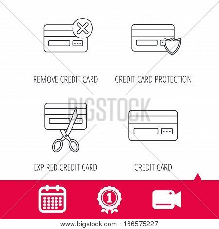Achievement and video cam signs. Bank credit card icons. Banking, protection and expired debit card linear signs. Calendar icon. Vector