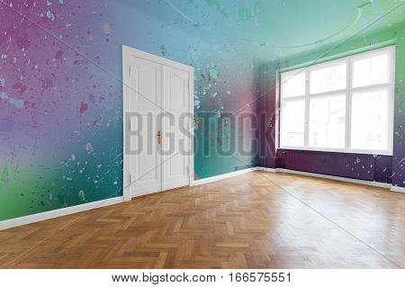 Colored Walls In Renovated Flat