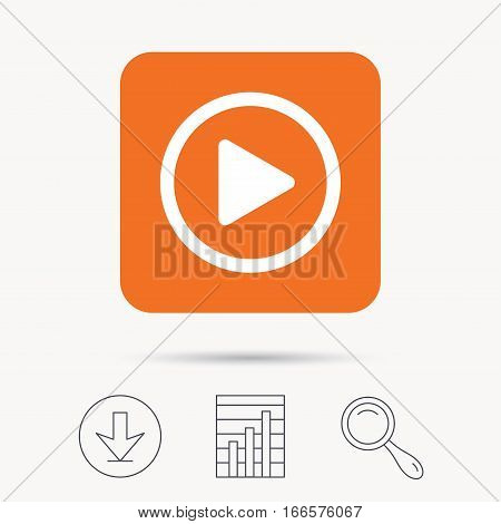 Play icon. Audio or Video player symbol. Report chart, download and magnifier search signs. Orange square button with web icon. Vector