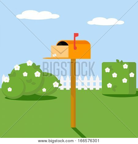 Open the mailbox with a letter set on a green lawn with grass shrubs and flowers. Vector, illustration EPS10
