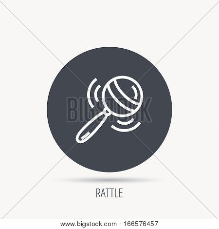 Baby rattle icon. Toddler toy sign. Child fun ball symbol. Round web button with flat icon. Vector