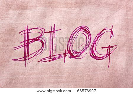 The word Blog handwriting in sketch like style by use of a nib pen and brown painted paper