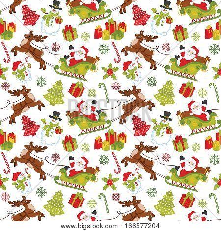 Vector Christmas seamless pattern with Santa Claus, snowman, deer