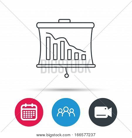 Statistic icon. Presentation board sign. Defaulted chart symbol. Group of people, video cam and calendar icons. Vector