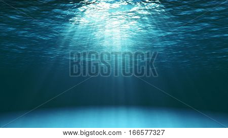 Dark Blue Ocean Surface Seen From Underwater