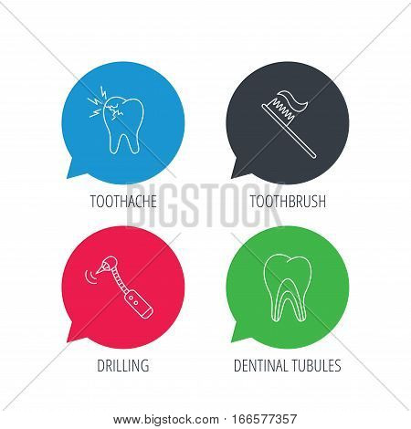 Colored speech bubbles. Toothache, drilling tool and toothbrush icons. Dentinal tubules linear sign. Flat web buttons with linear icons. Vector