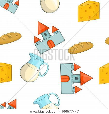 Attractions of Switzerland pattern. Cartoon illustration of attractions of Switzerland vector pattern for web