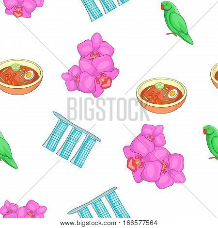 Attractions of Singapore pattern. Cartoon illustration of attractions of Singapore vector pattern for web