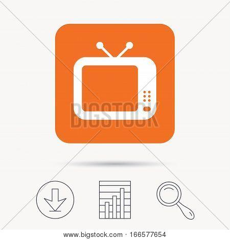 TV icon. Retro television symbol. Report chart, download and magnifier search signs. Orange square button with web icon. Vector