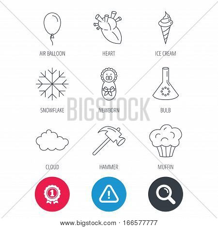 Achievement and search magnifier signs. Newborn, heart and lab bulb icons. Ice cream, muffin and air balloon linear signs. Cloud and snowflake flat line icons. Hazard attention icon. Vector