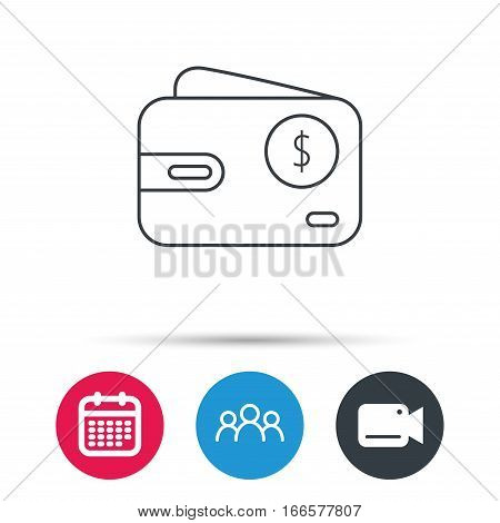 Dollar wallet icon. USD cash money bag sign. Group of people, video cam and calendar icons. Vector