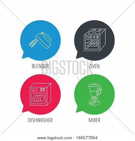 Colored speech bubbles. Dishwasher, oven and mixer icons. Blender linear sign. Flat web buttons with linear icons. Vector