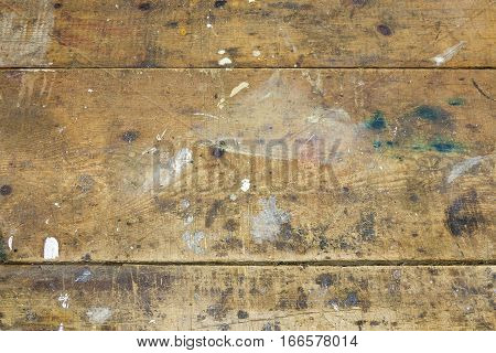 Closeup of worn scratched wood planks on handy man workshop bench