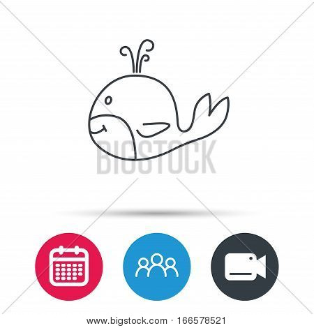 Whale icon. Largest mammal animal sign. Baleen whale with fountain symbol. Group of people, video cam and calendar icons. Vector