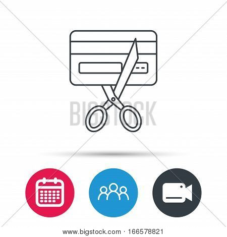Expired credit card icon. Shopping sign. Group of people, video cam and calendar icons. Vector