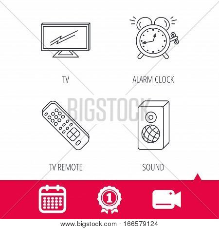 Achievement and video cam signs. TV remote, alarm clock and sound icons. Widescreen TV linear sign. Calendar icon. Vector