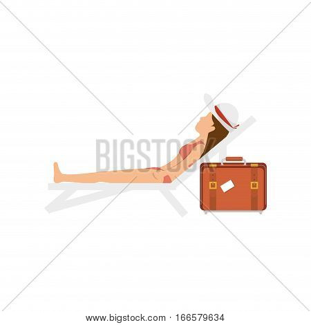 woman relax in the chair beach vector illustration design