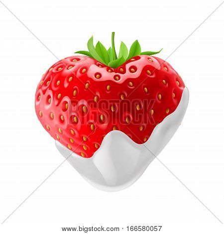 Strawberry with Chocolate Dipping on White Background