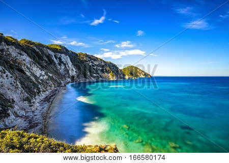 Elba island Portoferraio Sansone white beach coast. Tuscany Italy Europe. Long Exposure.