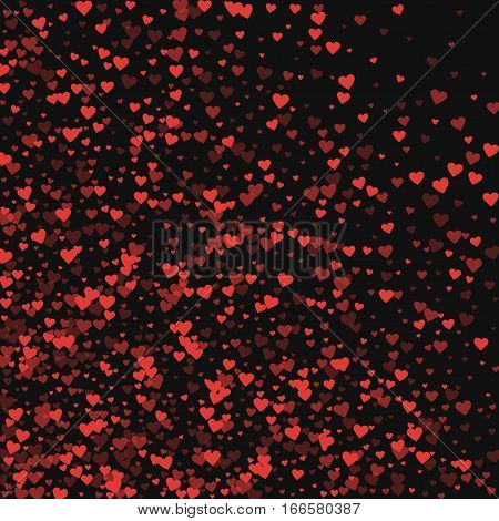 Red Hearts Confetti. Abstract Mess On Black Valentine Background. Vector Illustration.