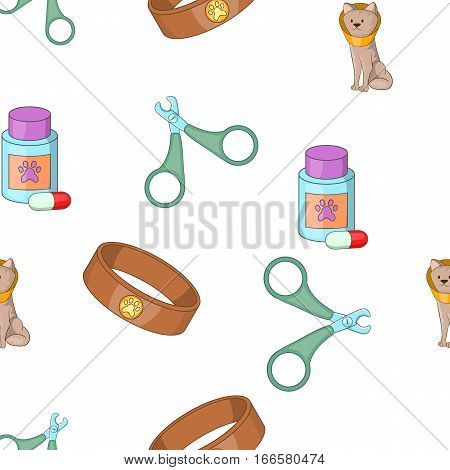 Veterinarian pattern. Cartoon illustration of veterinarian vector pattern for web