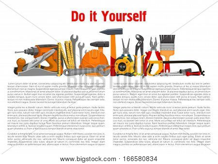 Repair, building and home fix work tools and working instruments toolkit of vector hammer and saw or fretsaw, plane and drill, spanner wrench and safety hat, measure tape ruler, pliers or nippers and paint brush with screwdriver