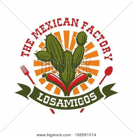 Mexican cuisine restaurant emblem. Vector isolated icon for traditional mexican bar with badge of spicy red chili pepper jalapeno, agave or cactus peyote and sun with ribbon. Sign for Mexico fast food tacos or burritos snacks, tequila drink bar