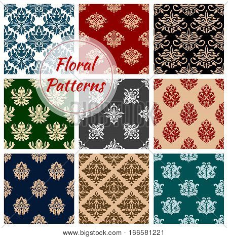Floral pattern. Flowery embellishment motif or flourish damask baroque backdrops set of ornamental flowers tracery design. Vector luxury rococo ornament tiles for interior design
