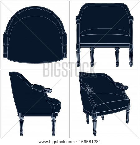 Classic Antique Decorative Retro Armchair Illustration Vector