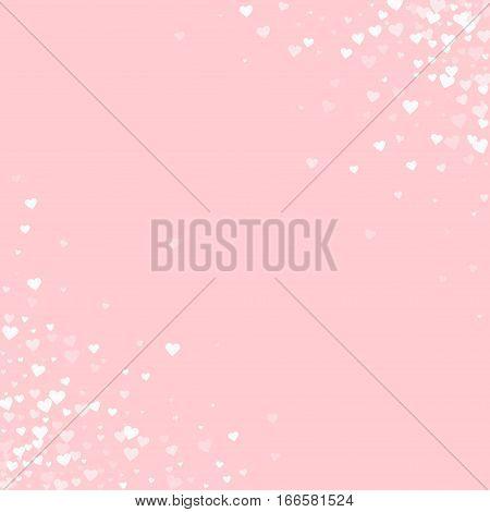 White Hearts Confetti. Scatter Cornered Border On Pale_pink Valentine Background. Vector Illustratio