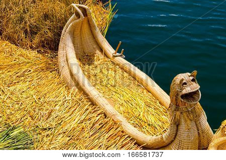 Boat made of reeds on the Uros Floating Islands in Peru