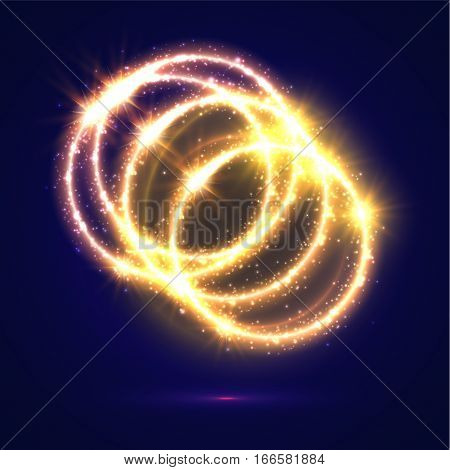 Golden light circles. Abstract lights and sparkling flashes Shiny rings with shimmering glitter particles with luminous glittering effect. Magic glowing circular star rays and beams