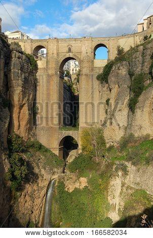 The New Bridge Puente Nuevo over the gorge in Ronda, Andalucia, Spain