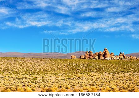 View of the valley of the rocks near Uyuni Bolivia