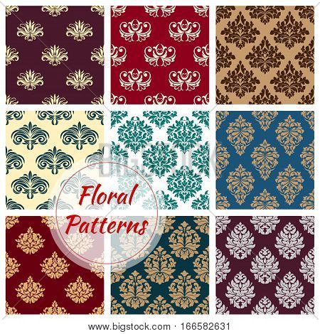 Floral seamless patterns set of flourish damask baroque backdrops and flowery embellishment motif. Vector ornamental flowers embellishment and luxury rococo ornate tiles for interior design