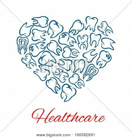 Heart of teeth. Dentistry and dental care poster of vector tooth for stomatology and odontology healthcare. Symbol of healthy white teeth for dentist, stomatologist clinic, health center or tooth paste design