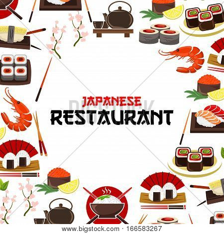 Sushi, sashimi seafood vector poster for Japanese restaurant. Oriental cuisine food sushi rolls, sashimi, steamed rice with salmon caviar or tuna fish and shrimps, noodle seaweed soup, wasabi, soy sauce, chopsticks and cherry blossom sakura branch