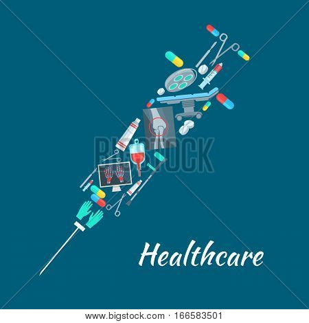 Medical poster with syringe symbol combined of healthcare medical items and surgeon or therapist tools. Vector human knee and hands X-ray, surgery therapy instruments scalpel, scissors, crutch and gloves, operation table, pill drugs, blood dropper