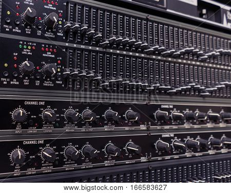 Audio sound mixer shallow depth of field
